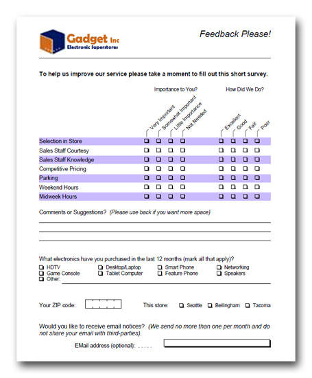 paper survey templates